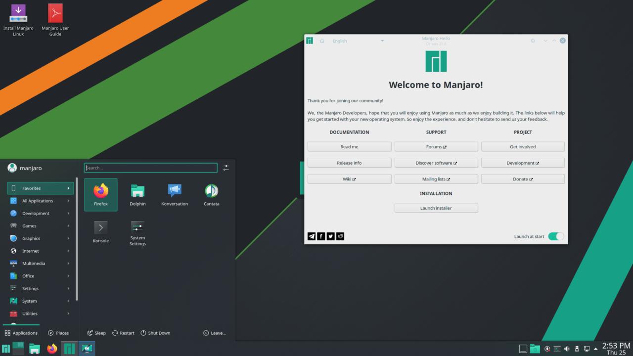 توزيعة مانجارو بواجهة KDE Plasma